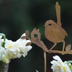 Fairy Wren with Tiny House Brass Garden Decoration 3