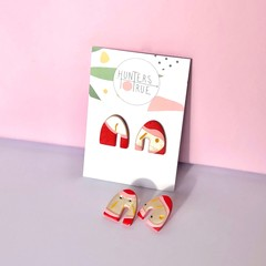 Bright Red Polymer Clay Stud Earrings