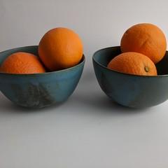 Creamy blue ceramic bowls