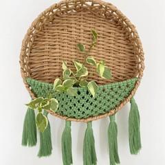 Macrame Woven Basket Wallhanging