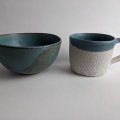Glacier mug and bowl set