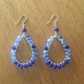 Blue Boho wrapped faceted teardrop glass earrings