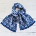 Handwoven Scarf 100% Wool Handmade Heirloom Floral geometric blue denim