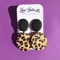 Large leopard print statement earrings