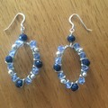 Blue Boho wrapped faceted glass oval earrings
