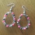 Coral and jasper boho wrapped bead earrings