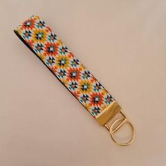 Yellow orange and blue aztec print key fob wristlet