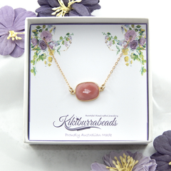 Pink Opal Necklace Gold Filled Chain