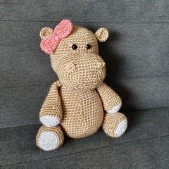Handmade Crochet Hippo Soft Toy, Hippo Amigurumi