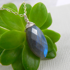 Labradorite Necklace,Sterling Silver Wire Wrapped Necklace