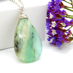 Peruvian Opal Necklace,October Birthstone,Green Opal Pendant Necklace