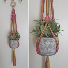 Hand made macrame plant hanger/holder - pink flowers