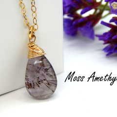 Amethyst Necklace,Super 7,Moss Amethyst Necklace,Gold Filled