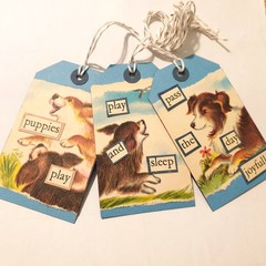 3 Vintage Style Blue Dog Puppy  Gift Tags