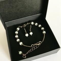 Pale Blue Austrian Crystal Bracelet Earring Set OOAK Unique Jewellery