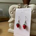 Freshly Picked STRAWBERRIES Handmade Clay Drop Earrings