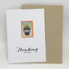 Thinking of You - Cross Stitch flowers in a pot