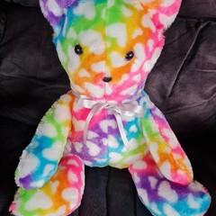 Rainbow heart print large teddy bear