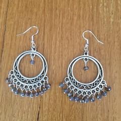 Boho grey bead chandelier hoop earrings