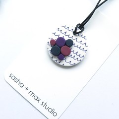 Scribble Grape and white pendant necklace