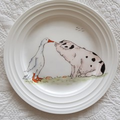 Hand painted Goose and Pig plate