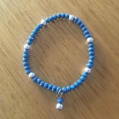 Denim blue faceted bead bracelet