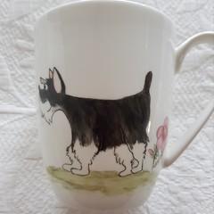 Hand painted Schnauzer  mug
