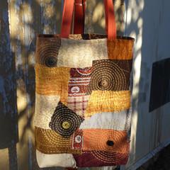 Boro Sashiko Hand Embroidered Tote Bag Brown Button Fireworks