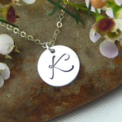 Initial Necklace,Script Initial Necklace,Personalized Hand Stamped Jewellery