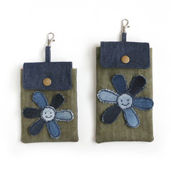 Handmade Pouch with Upcycled Denim Flower - Lobster Clasp
