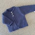 Blue Cardigan  - Newborn -pure wool - Hand knitted