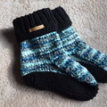 Hand Knitted Ladies Dorm Boot Slippers. Size L ( 8-10 AU)