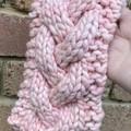 Cable knit headband chunky braided earwarmers merino pink