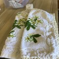 Double thickness crochet top hand towel and face washer