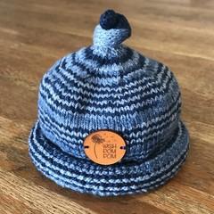 Newborn Gumdrop Beanie - Blue Stripes