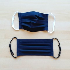 New Size! S,M,L/*Dark Navy/Pleated Face Mask with filter pocket and Nose Wire