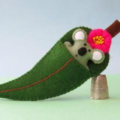 Koala in a Gum Leaf Bed, Wool Felt miniature, animal bed play set, Australia Day