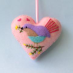 Embroidered Felt Heart Ornament, Nursery Decor, Decoration, Keepsake Gift, pink