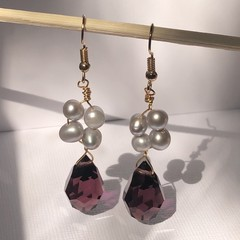 Pearl and Amethyst Czech beads with gold plated silver wire.