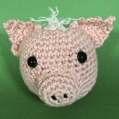 'Piggy' Pink Pig Ball Toy with Grey Hair and a PinkTail - No.2