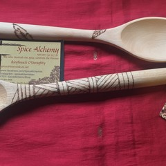 Large hand pyrographed wooden spoon