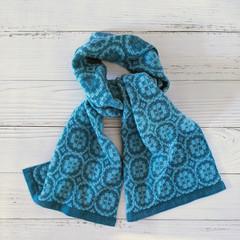 Handwoven Scarf 100% Wool Handmade Heirloom Floral geometric teal sea green