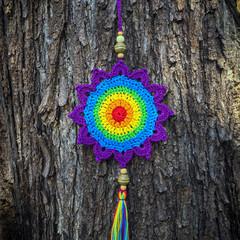 Crochet Rainbow Flower Decoration