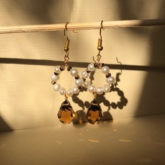 Pearl and Citrine coloured glass Earrings