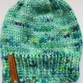 Newborn unisex mint green knitted beanie PomPom beanie baby boy or girl baby sho