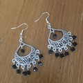 Black  boho faceted bead chandelier drop earrings