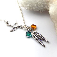 Mother And Child Necklace,Silver Feather necklace ,Choose Your Birthstones