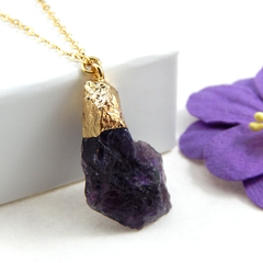 Amethyst Raw Stone Necklace,Amethyst Pendant Necklace Gold Filled Chain