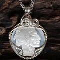 Silver Buffalo Coin Pendant sml