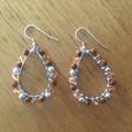 Orange Boho faceted glass teardrop earrings